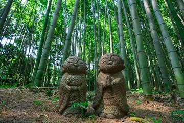 京都 嵯峨野 竹林の小径 お地蔵様