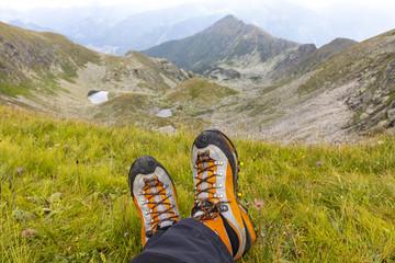alpine boots on mountain range boesenstein, styria,austria