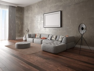 Mock up a modern living room with a large comfortable sofa and an interesting interior.