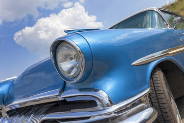 American vintage car, close-up of front detail