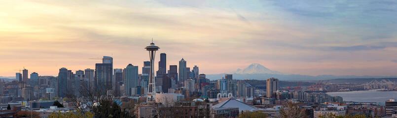 Seattle WA Skyline with Mount Rainier during Sunrise Panorama in Washington state USA