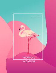 Tropical Vacation Layout with Flamingo Bird for Web, Landing Page, Banner, Poster, Website Template. Hello Summer Background for Mobile App, Social Media. Vector illustration