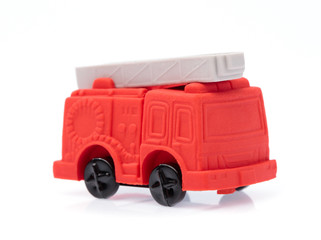 Rubber eraser Fire Truck isolated on white background