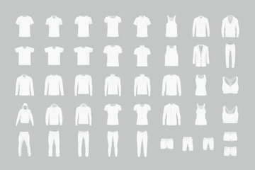 Set of white men's and women's clothes. flat style. isolated on gray background