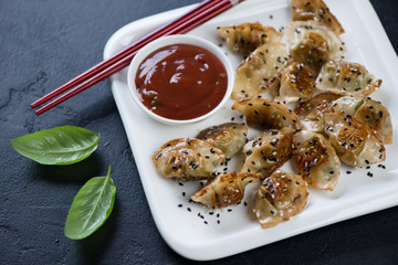 Fried wontons with sesame and dipping sauce served on a white plate, studio shot