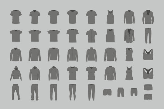 Set of black men's and women's clothes. flat style. isolated on gray background