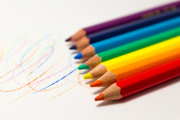 Color pencils on white background, rainbow colors