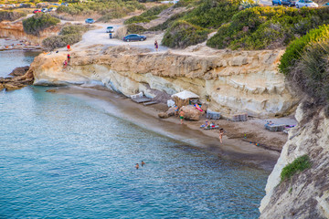 Crete, Greece. Hersonessos aria view on the rocks and sea