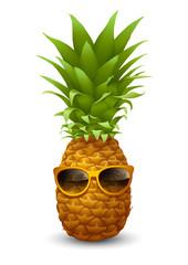 Fresh ripe Pineapple in sunglasses