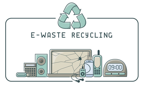 E-waste recycling icons set with electronics trash and lettering. Linear style vector illustration. EPS10