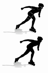 silhouette inline skater. vector draw