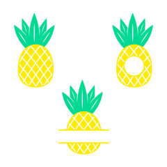 Pineapple. Tropical fruit. Flat vector illustration