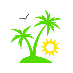Tropical palm tree with sun. Summer beach. Sunset. Palm tree silhouette. Vector illustration
