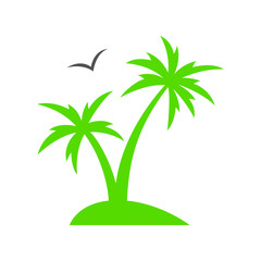 Tropical palm tree. Summer beach. Palm tree silhouette. Vector illustration