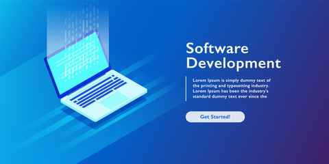 Software development and programming code on laptop, personal data processing, computing isometric vector