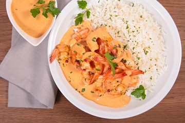 shrimp and cream with rice
