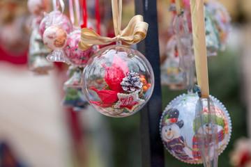 Christmas glass balls at the fair.