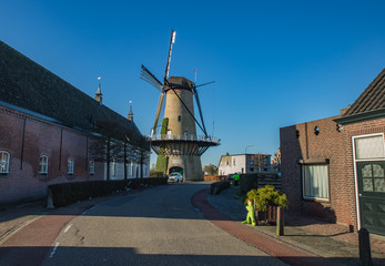 Windmill  De Arend  (Anno1756) in the Dutch village of province North Brabant, Netherlands