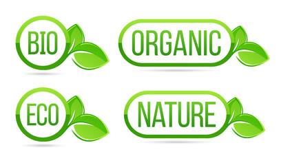 Organic, natural, bio, eco vector labels. Eco, Bio, Organic, Nature green fresh leaves elements.