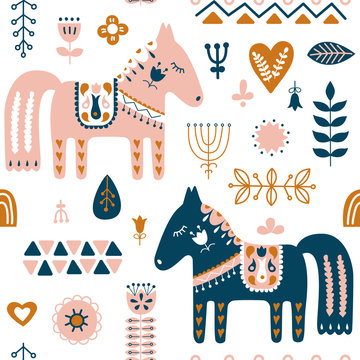 Hand drawn seamless folk art pattern. Nordic repeating pattern with Dala Horse and forest floral elements. Vector illustration.