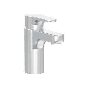 3D illustration isolated white gold or silver faucet on a white background