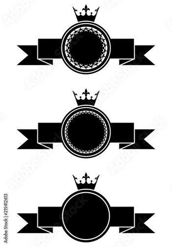 Set of monochrome empty vintage badges  Crowns and ribbons templates