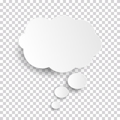 Cloud Icon, white thought bubble on transparent checked background for Infographic design