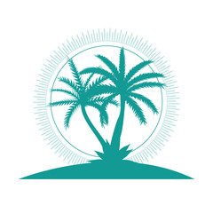 Beautiful Palm Tree Icon Silhouette Background Vector Illustration