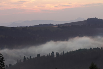 Sunset in the mountains, Ukrainian Carpathians