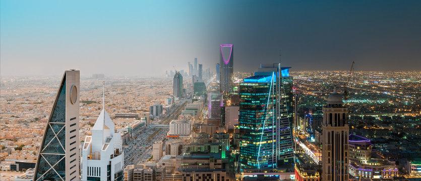 Saudi Arabia Riyadh Landscape Between Day and Night - Riyadh Tower Kingdom Centre, Kingdom Tower, Riyadh Skyline - Burj Al-Mamlaka, AlMamlakah - Riyadh at Daylight and Night Time - Tower View