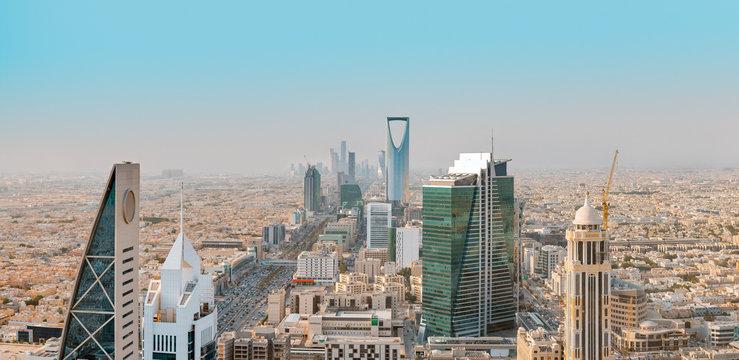 Saudi Arabia Riyadh landscape at Mourning - Riyadh Tower Kingdom Centre, Kingdom Tower, Riyadh Skyline - Burj Al-Mamlaka, AlMamlakah - Riyadh at Daylight - Tower View