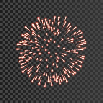 Firework red bursting isolated transparent background. Beautiful night fire, explosion decoration, holiday, Christmas, New Year. Symbol festival, American 4th july celebration. Vector illustration