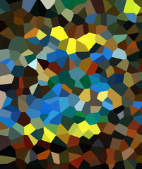 Stained glass texture. Graphic design abstraction. Crystal mix. Polygonal wallpaper. Messy diamonds. Mosaic artwork.