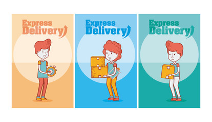 Set of delivery cards
