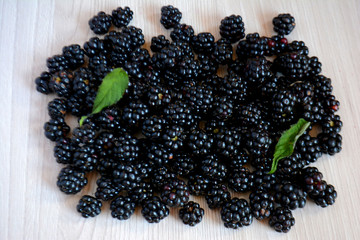 Blackberry on the table. Berry background