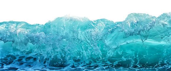 Tuinposter Water Big blue stormy sea wave isolated on white background. Climate nature concept. Front view