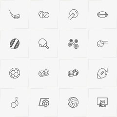 Balls line icon set with volleyball , rugby ball and billiard