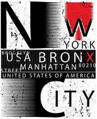 New york typography fashion style tee art