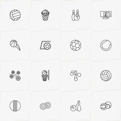 Balls line icon set with volleyball , tennis ball and cricket ball