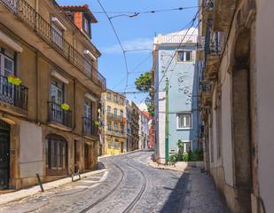 Printed roller blinds Central Europe Calcada de Sao Vicente street in Lisbon. Portugal.