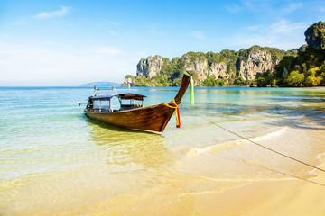 Longboat and tropical Railay beach in Krabi, Thailand