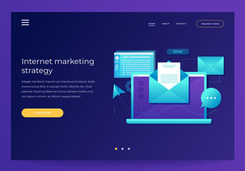Design template for Landing Page. Email marketing concept. Laptop with envelope, open email and message on screen. Communication, information dissemination, sending email. Flat vector illustration.