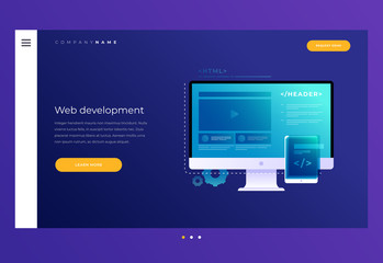 Concept of web development. Elements of interface and video player window on monitor screen. Development of applications for electronic and mobile devices. Header for website. Vector illustration.