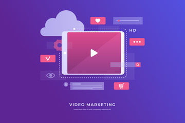 Video marketing concept. Tablet screen with an icon of video player and icons for mobile applications. Innovations and technologies. Vector flat illustration.