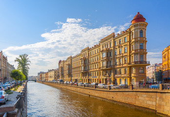 St. Petersburg Russia July 2018: houses on the Griboyedov canal embankment