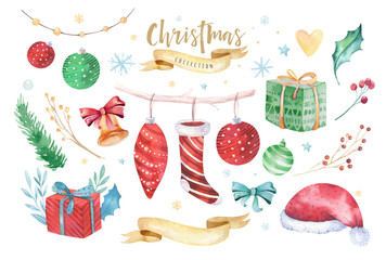 Wall Mural - Merry Christmas and Happy New Year 2019 decoration winter set. Watercolor holiday background. Xmas element card. Isolated elements.