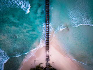 Aerial view of the coastline in Barbados in Caribbeans