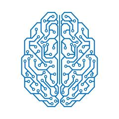 Creative technology human brain with neural bonds - vector
