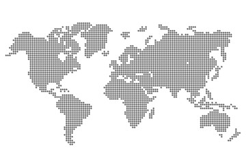 World Map with pixels - vector for stock