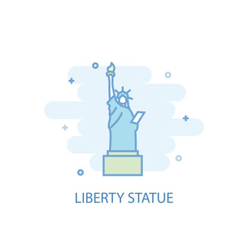 Liberty statue line trendy icon. Simple line, colored illustration. Liberty statue symbol flat design from USA set. Can be used for UI/UX